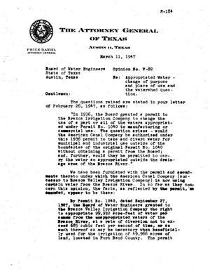 Primary view of object titled 'Texas Attorney General Opinion: V-82'.