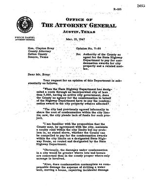Primary view of object titled 'Texas Attorney General Opinion: V-89'.