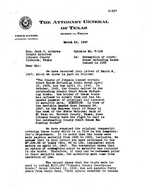 Primary view of object titled 'Texas Attorney General Opinion: V-102'.