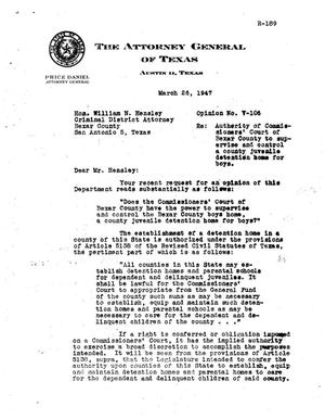 Primary view of object titled 'Texas Attorney General Opinion: V-106'.