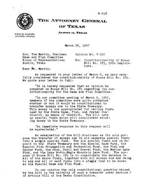 Primary view of object titled 'Texas Attorney General Opinion: V-107'.