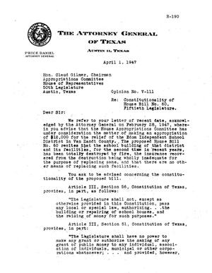 Primary view of object titled 'Texas Attorney General Opinion: V-111'.