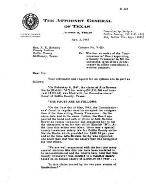 Primary view of object titled 'Texas Attorney General Opinion: V-115'.