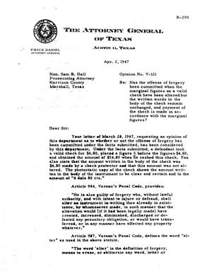Primary view of object titled 'Texas Attorney General Opinion: V-121'.