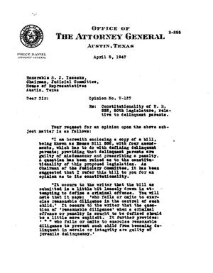 Primary view of object titled 'Texas Attorney General Opinion: V-127'.