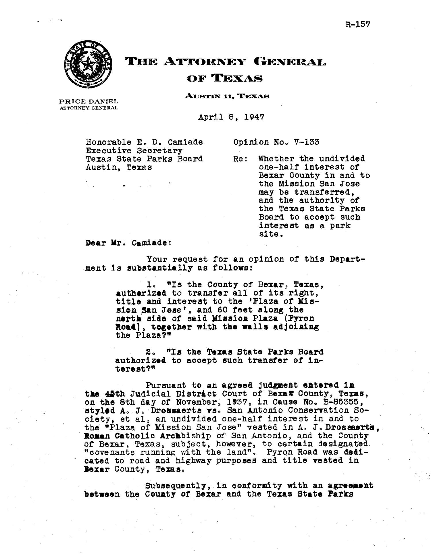 Texas Attorney General Opinion: V-133                                                                                                      [Sequence #]: 1 of 5