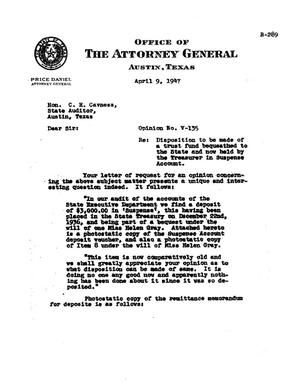 Primary view of object titled 'Texas Attorney General Opinion: V-135'.