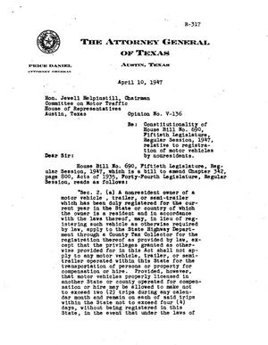 Primary view of object titled 'Texas Attorney General Opinion: V-136'.