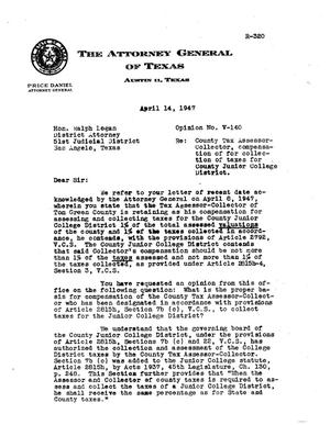 Primary view of object titled 'Texas Attorney General Opinion: V-140'.