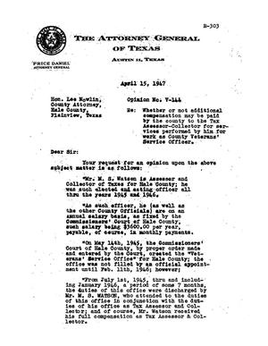 Primary view of object titled 'Texas Attorney General Opinion: V-144'.