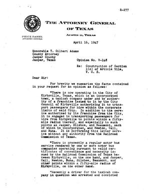 Primary view of object titled 'Texas Attorney General Opinion: V-148'.