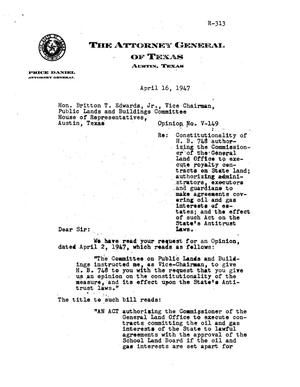 Primary view of object titled 'Texas Attorney General Opinion: V-149'.