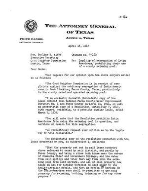 Primary view of object titled 'Texas Attorney General Opinion: V-150'.