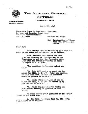 Primary view of object titled 'Texas Attorney General Opinion: V-159'.