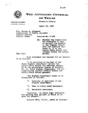 Primary view of object titled 'Texas Attorney General Opinion: V-160'.