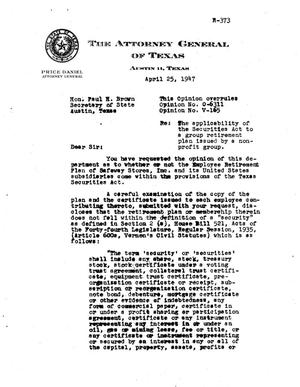 Primary view of object titled 'Texas Attorney General Opinion: V-165'.