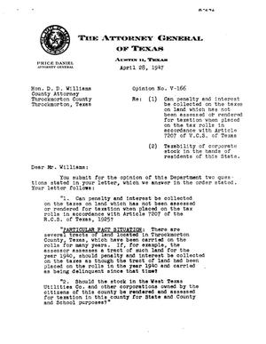 Primary view of object titled 'Texas Attorney General Opinion: V-166'.
