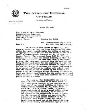 Primary view of object titled 'Texas Attorney General Opinion: V-172'.