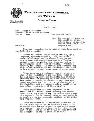 Primary view of object titled 'Texas Attorney General Opinion: V-176'.