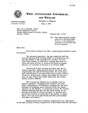 Primary view of object titled 'Texas Attorney General Opinion: V-179'.