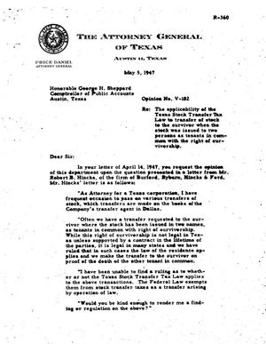 Primary view of object titled 'Texas Attorney General Opinion: V-182'.