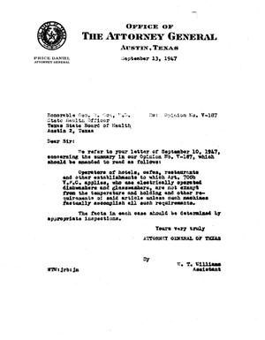 Primary view of object titled 'Texas Attorney General Opinion: V-187'.