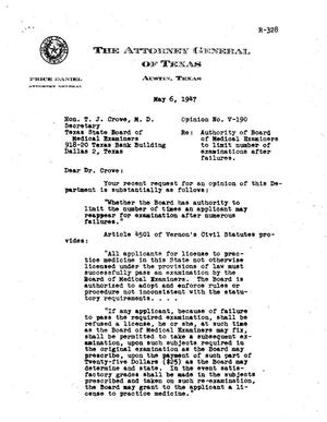 Primary view of object titled 'Texas Attorney General Opinion: V-190'.