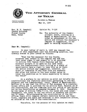 Primary view of object titled 'Texas Attorney General Opinion: V-194'.