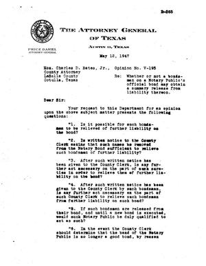 Primary view of object titled 'Texas Attorney General Opinion: V-195'.