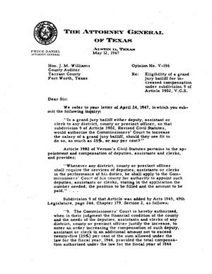 Primary view of object titled 'Texas Attorney General Opinion: V-196'.