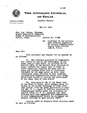 Primary view of object titled 'Texas Attorney General Opinion: V-199'.