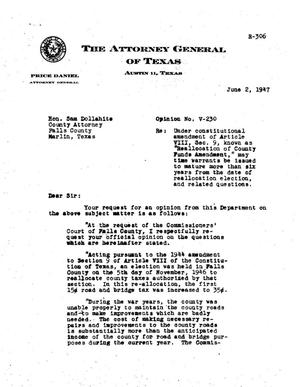 Primary view of object titled 'Texas Attorney General Opinion: V-230'.