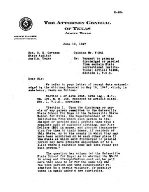 Primary view of object titled 'Texas Attorney General Opinion: V-241'.