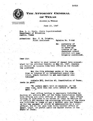 Primary view of object titled 'Texas Attorney General Opinion: V-242'.