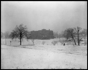 Primary view of object titled '[Reagan School in the Snow]'.