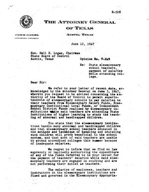 Primary view of object titled 'Texas Attorney General Opinion: V-249'.