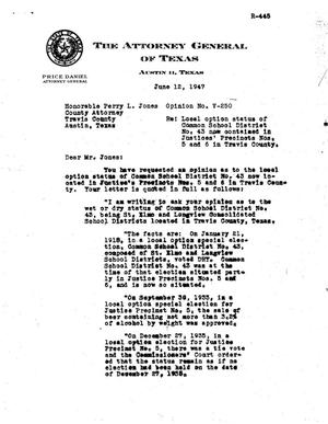Primary view of object titled 'Texas Attorney General Opinion: V-250'.