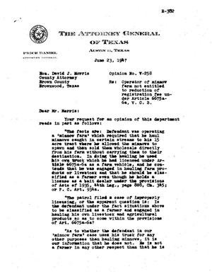 Primary view of object titled 'Texas Attorney General Opinion: V-258'.