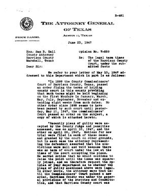 Primary view of object titled 'Texas Attorney General Opinion: V-259'.
