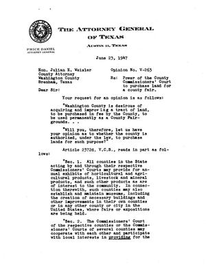 Primary view of object titled 'Texas Attorney General Opinion: V-263'.