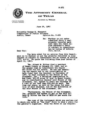 Primary view of object titled 'Texas Attorney General Opinion: V-264'.