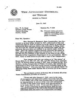 Primary view of object titled 'Texas Attorney General Opinion: V-268'.
