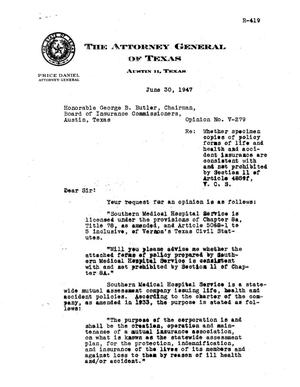 Primary view of object titled 'Texas Attorney General Opinion: V-279'.