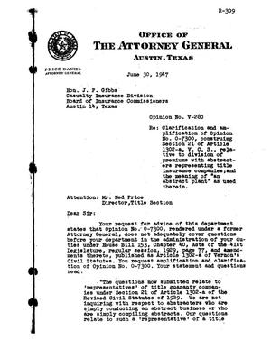 Primary view of object titled 'Texas Attorney General Opinion: V-280'.