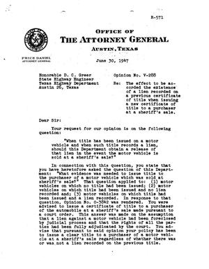 Primary view of object titled 'Texas Attorney General Opinion: V-288'.