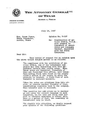Primary view of object titled 'Texas Attorney General Opinion: V-307'.