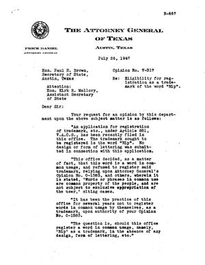 Primary view of object titled 'Texas Attorney General Opinion: V-317'.