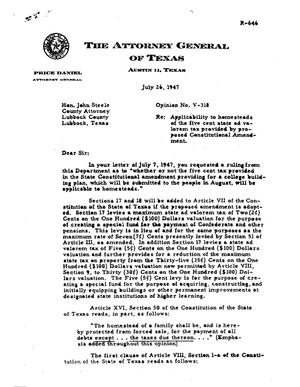 Primary view of object titled 'Texas Attorney General Opinion: V-318'.