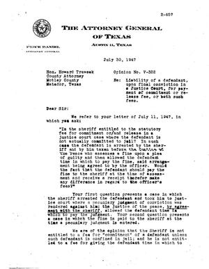 Primary view of object titled 'Texas Attorney General Opinion: V-322'.