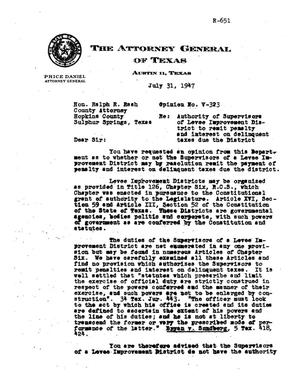 Primary view of object titled 'Texas Attorney General Opinion: V-323'.